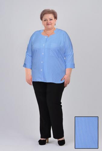"""Блуза """"Раиса"""" (арт.203) голубая полоска (Киргизия) — размеры 60, 62, 66"""